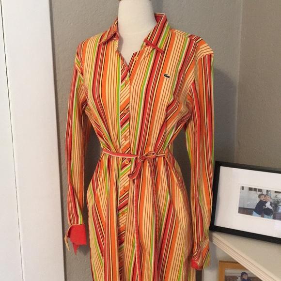 Lacoste Dresses & Skirts - Lacoste Orange Green Striped Shirt Dress Preppy! S